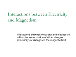 Interactions between Electricity and Magnetism