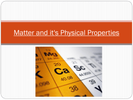 Matter, Elements, and Properties