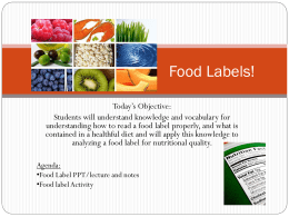 Notes- Food Labels!