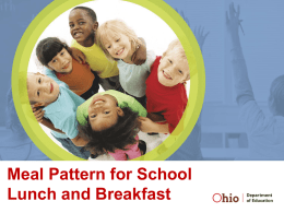 Meal Pattern for School Lunch and Breakfast