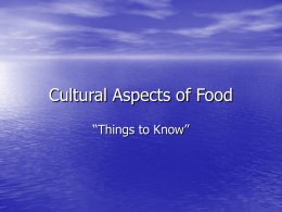Cultural Aspects of Food
