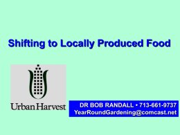 Shifting to Locally Produced Food