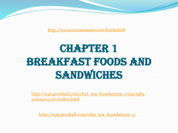 CHAPTER 1 – BREAKFAST FOODS AND SANDWICHES