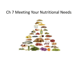 Ch 7 Meeting Your Nutritional Needs