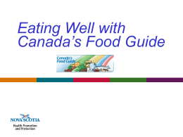 Eating Well With Canada`s Food Guide