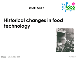 Historical changes in food technology
