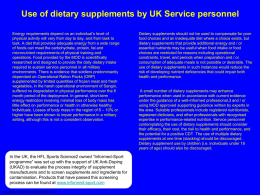 Use of dietary supplements by UK Service personnel