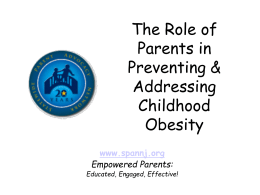 Parent Role in Obesity Prevention