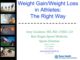 Healthy Weight Gain or Loss - Lamar High School Girls Soccer