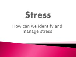 Stress Management - Caring for Carers