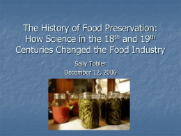 The History of Food Preservation: How Science in the 18th and 19th