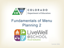 Fundamentals of Menu Planning Presentation