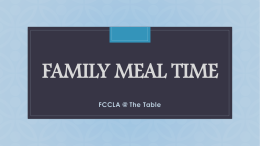 Family Meal TIme - Henry County Schools