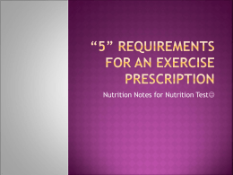 Nutrition Exercise Prescription Test Guide