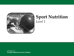 Sport Nutrition PPT - Chestermere High School