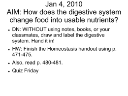 Jan 4, 2010 AIM: How does the digestive system change food into