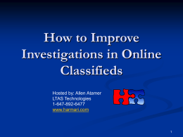 How to Improve Investigations in Online Classified
