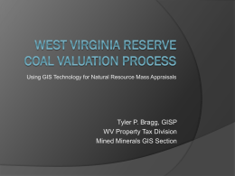 GIS AND THE WEST VIRGINIA COAL VALUATION Procedure