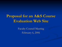 Proposal for A&S Course Evaluation Web Site
