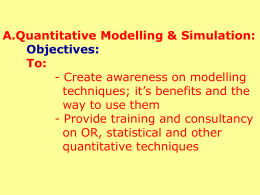 Modeling & Simulation Division Activities A. Quantitative