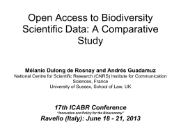 Open Access to Biodiversity Scientific Data: A Comparative