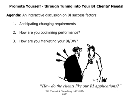 Promote Yourself - through Tuning into Your BI Clients` Needs!