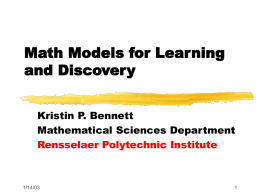 Learning and Discovery - Rensselaer Polytechnic Institute