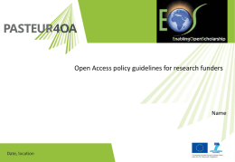 Presentation - Policy guidelines - funders
