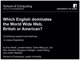 Dominance of British and American English on the World Wide Web