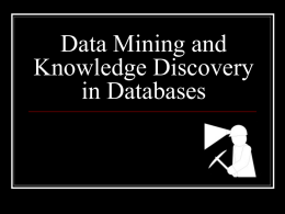 Data Mining and Knowledge Discovery in Databases
