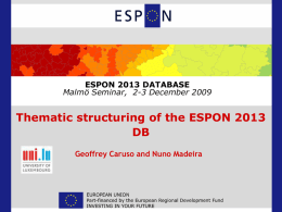 Thematic structuring of the ESPON 2013 DB