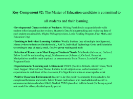 Key Component #2: The Master of Education candidate