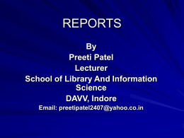 reports - School of Library and Information Science