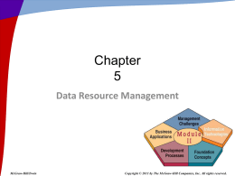 Data Resource Management - McGraw Hill Higher Education
