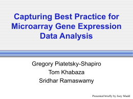 Capturing Best Practice for Microarray Gene Expression Data Analysis