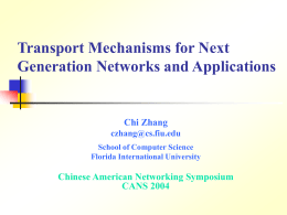 Prof. Chi ZHANG Transport Mechanisms for High