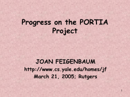 Progress on the PORTIA Project