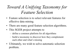 Toward A Unifying Taxonomy for Feature Selection