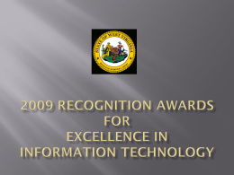 2009 recognition awards for excellence in information technology