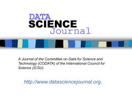 Scope of the Data Science Journal