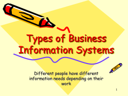 Types of Information Systems-