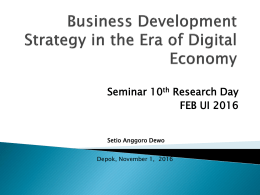 Business Development Strategy in the Era of Digital Economy