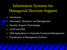 Info Systems for Managerial Decision Support