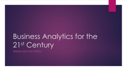 Business Analytics for the 21st Century