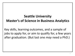 Jobs for MSBA - Seattle University