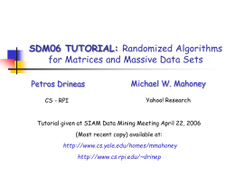Randomized algorithms for matrices and massive