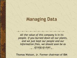 Managing Data - Richard T. Watson