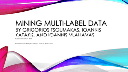 Mining Multi-label Data by Grigorios Tsoumakas, Ioannis Katakis