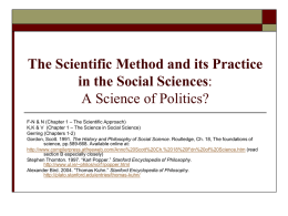 The Scientific Method and its Practice in the Social Sciences: A