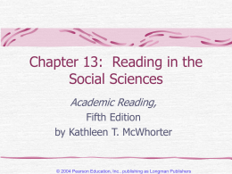Chapter 12: Reading in the Social Sciences